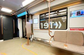 Поезд с интерактивными дисплеями запустили через районную станцию метро. Фото: Анна Быкова